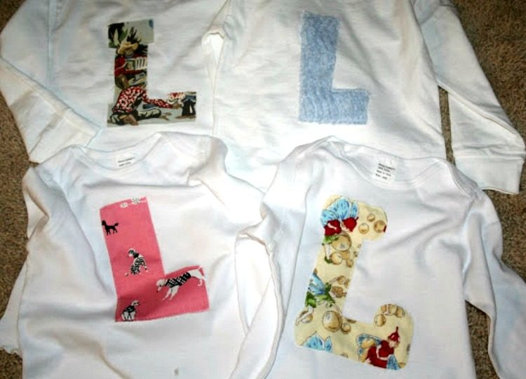 DIY monogrammed shirts made with fabric