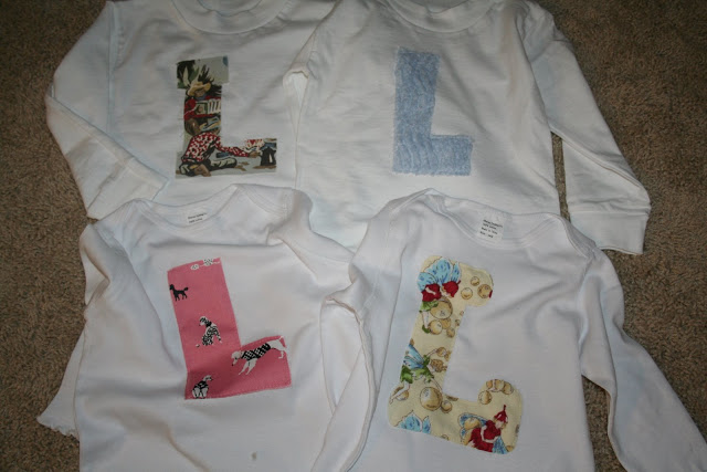 monogrammed shirts made from fabric scraps