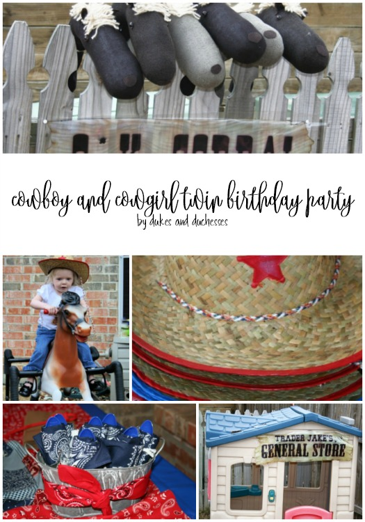 cowboy and cowgirl twin birthday party