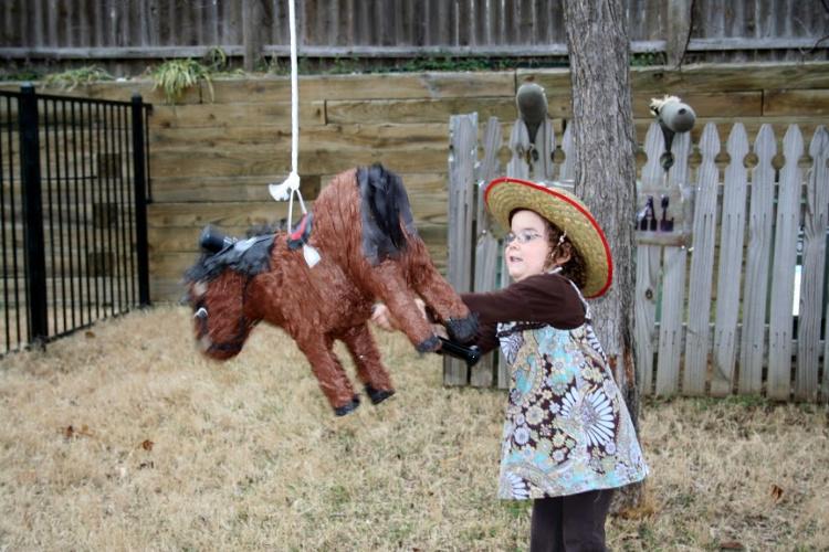 horse pinata at cowboy party