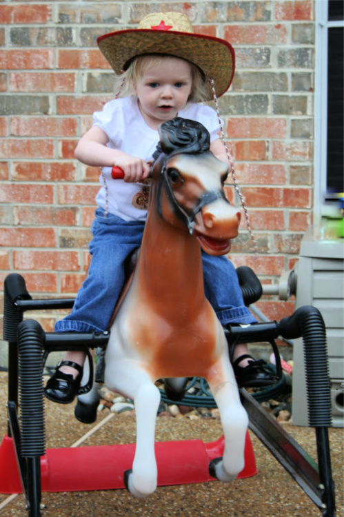 riding horses at cowgirl party
