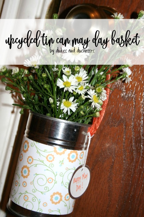 upcycled tin can may day basket