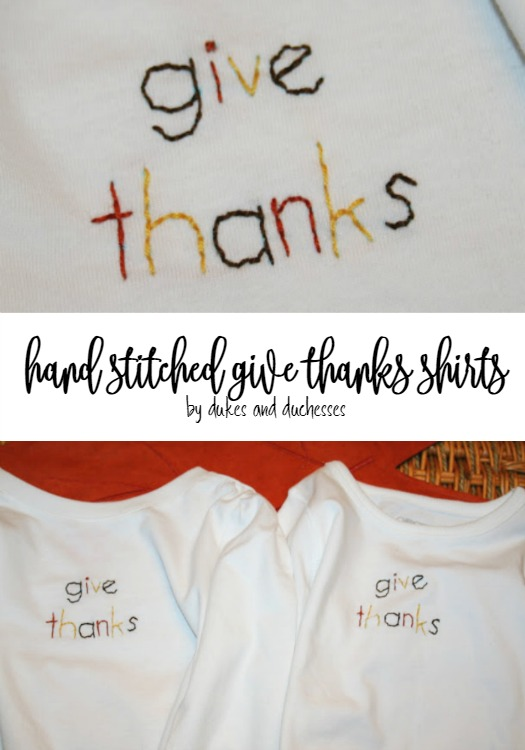 hand stitched give thanks thanksgiving shirts