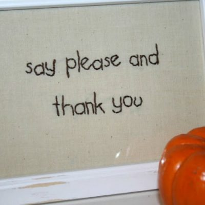 Embroidered Table Manners Sign