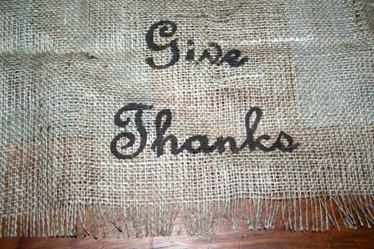 give thanks stenciled burlap table runner for thanksgiving