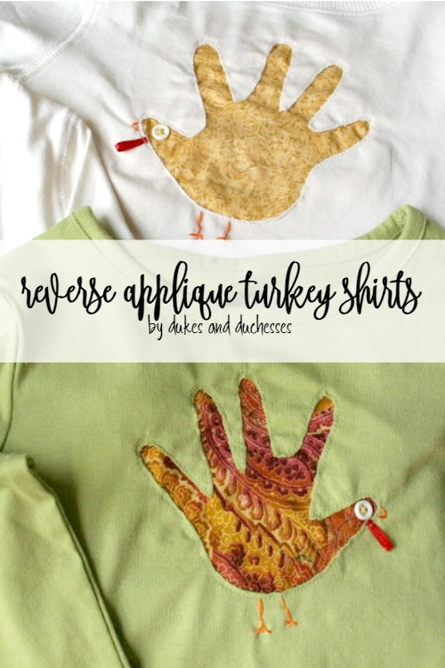 reverse applique handprint turkey shirts for Thanksgiving