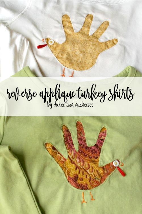 reverse applique handprint turkey shirts for Thanksgiving