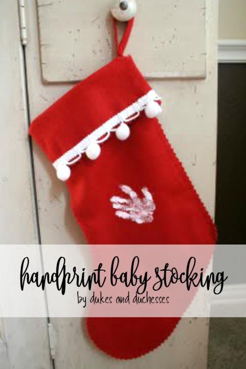 handprint baby stocking