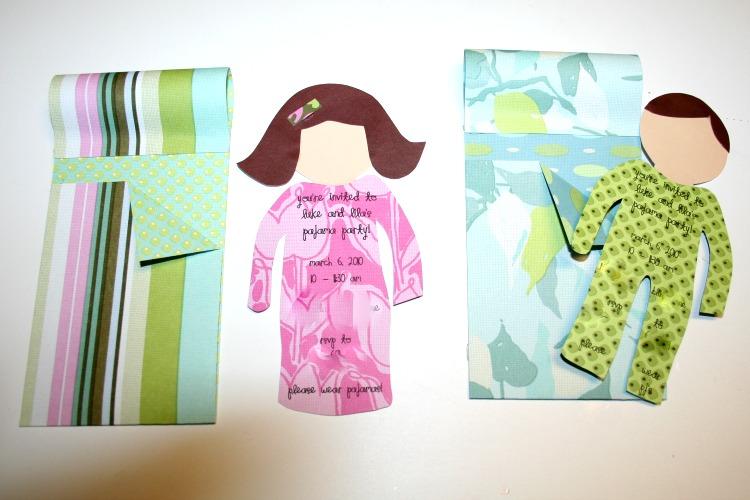 paper doll sleeping bag pajama party invitations
