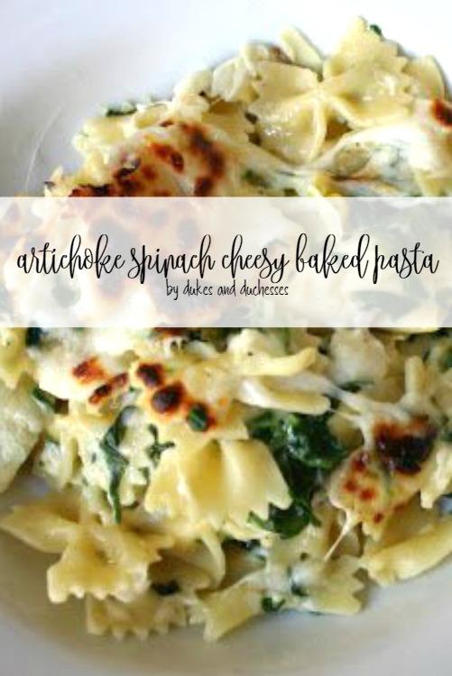 artichoke spinach cheesy baked pasta recipe