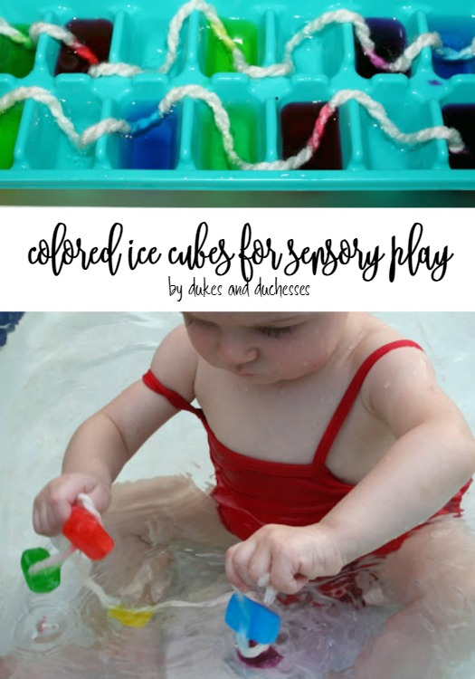 colored ice cubes for sensory play for babies