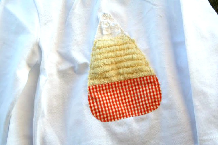 candy corn shirt made with fabric scraps
