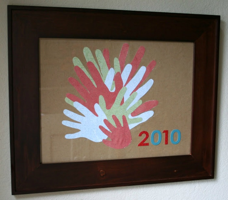 family hands wall art craft handprint idea