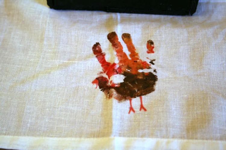 painted handprint turkey tablecloth