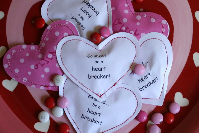homemade valentines paper sewn hearts
