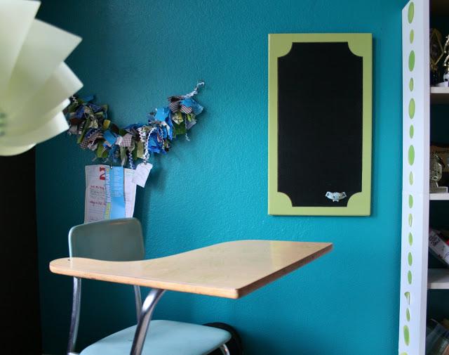 A cabinet door chalk board