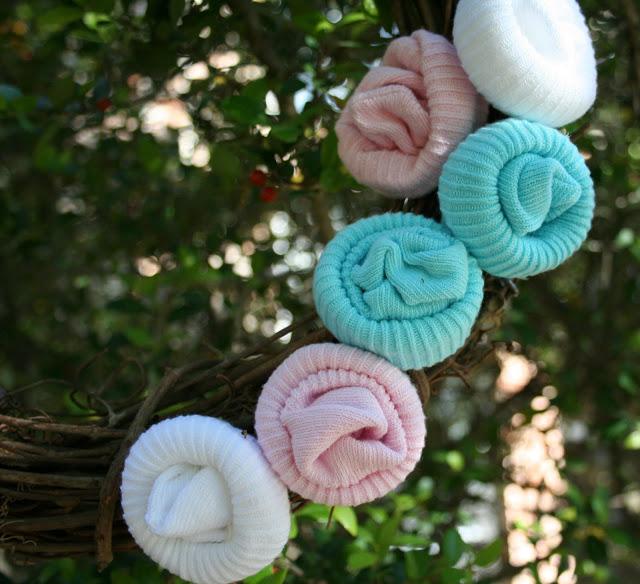 baby sock rosette wreath for a baby shower