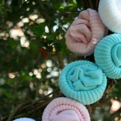 Baby Sock Rosette Wreath