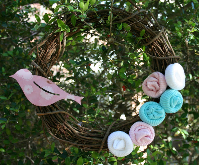 rosette wreath made with baby socks