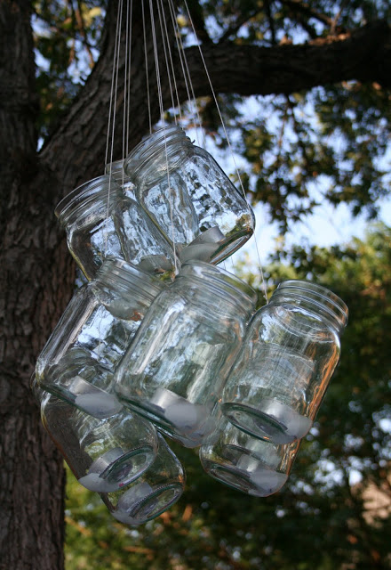 A mason jar chandelier