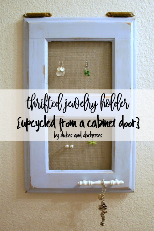 thrifted jewelry holder upcycled from cabinet door