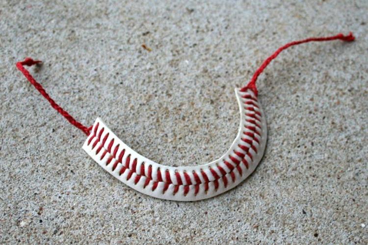 DIY repurposed baseball bracelet