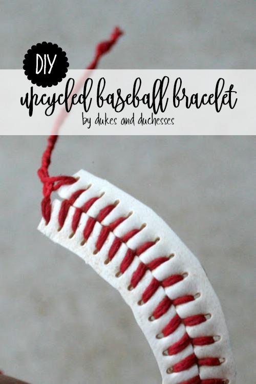 DIY upcycled baseball bracelet