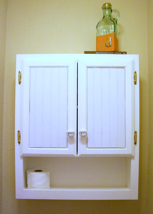 bathroom cabinet makeover with beadboard
