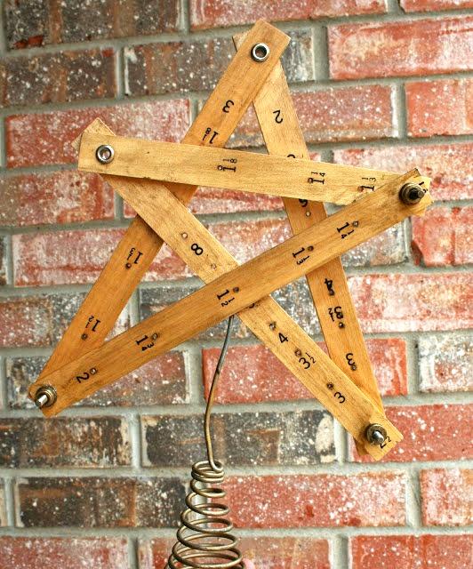 repurposed yardstick christmas star