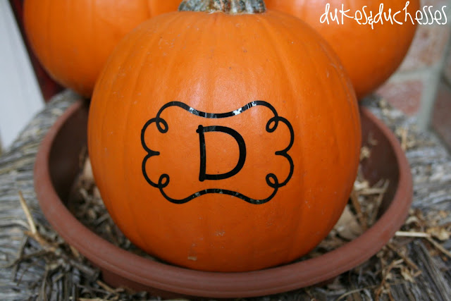 monogrammed pumpkin with Silhouette and vinyl