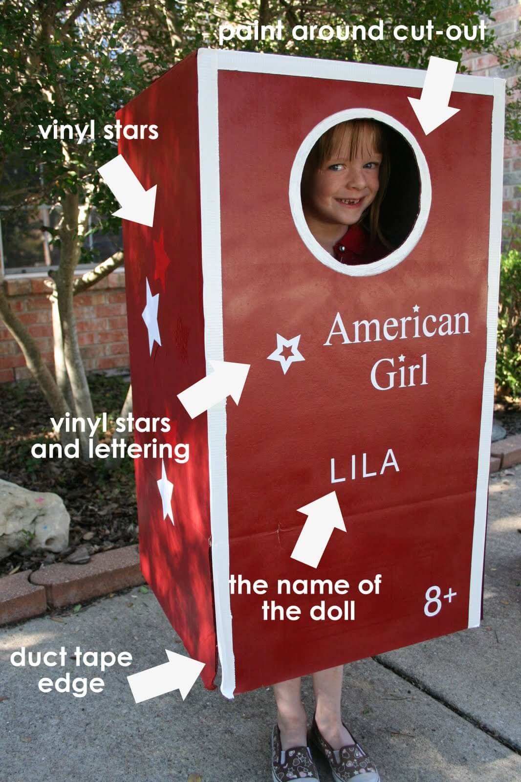 american girl doll diy halloween costume idea (with box)