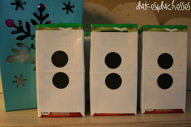 snowman juice boxes made with duct tape and paper