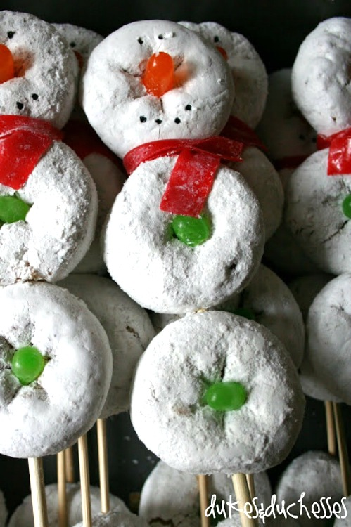 donut snowman treats