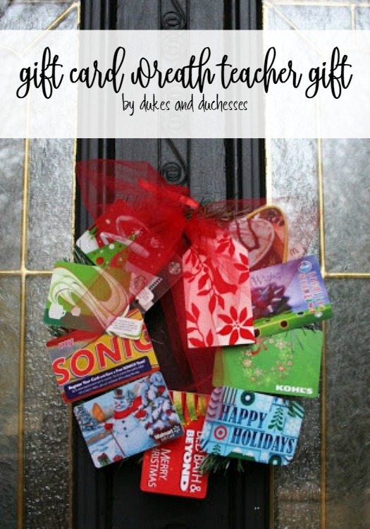 gift card wreath teacher gift
