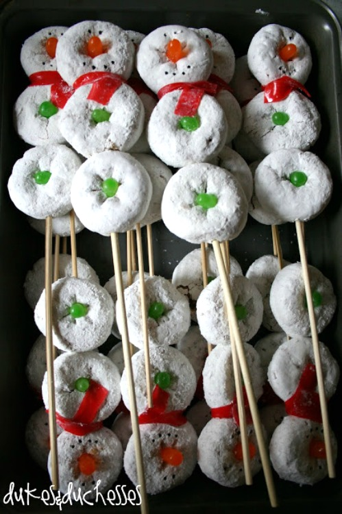 snowman on a stick party treats