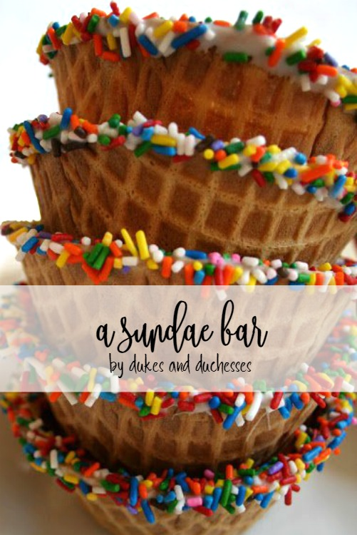 sundae bar with sprinkle dipped waffle bowls