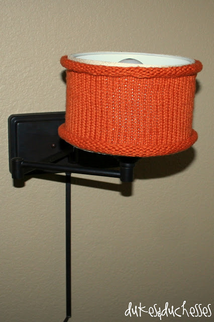 A knit lampshade