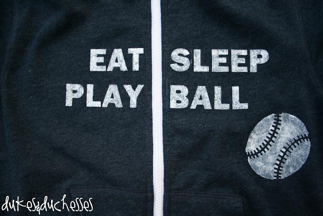 stenciled baseball hoodie