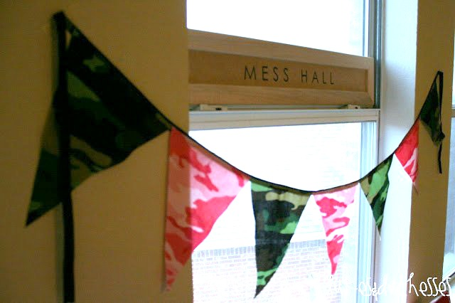 army party banner and mess hall sign