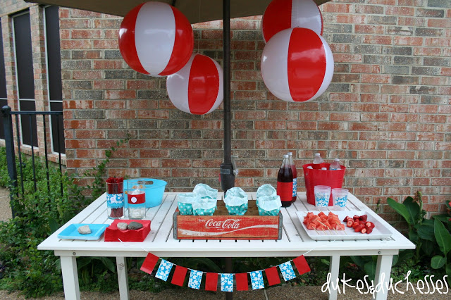 A Red and Turquoise Pool Party