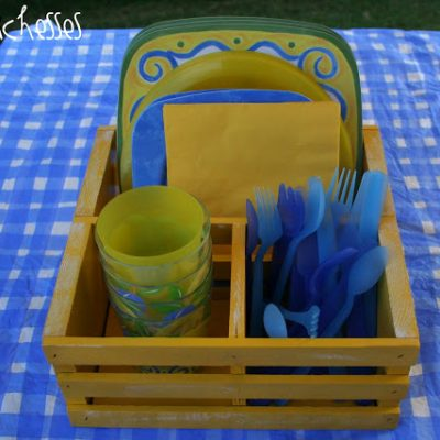 An Upcycled Outdoor Dish Caddy
