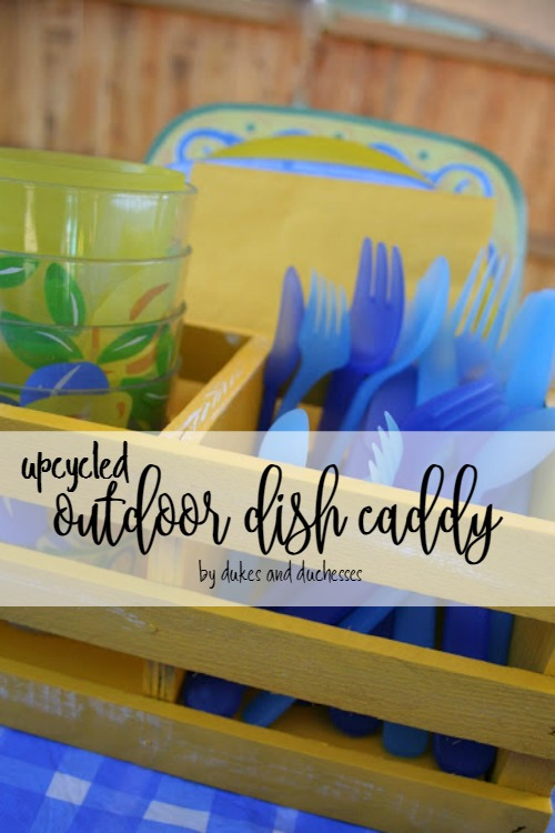 upcycled outdoor dish caddy