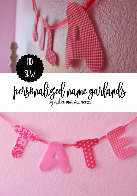 no sew personalized name garlands