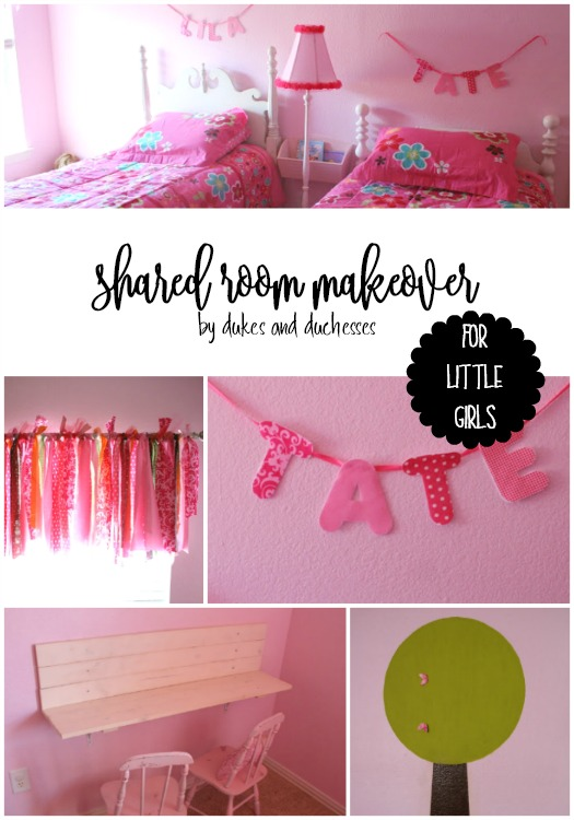 shared room makeover for little girls