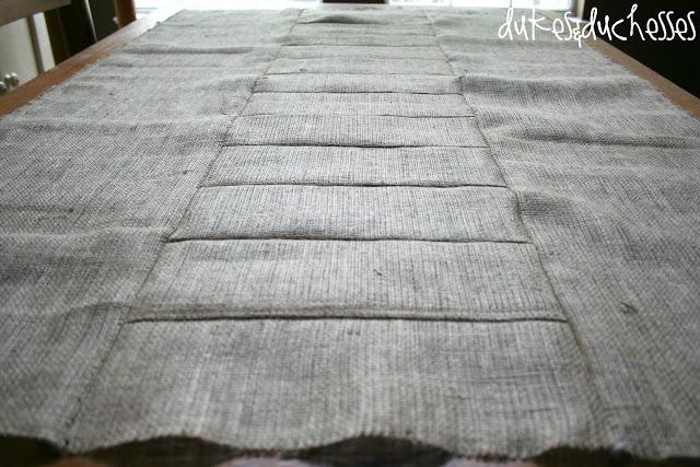 sewing a burlap tablecloth