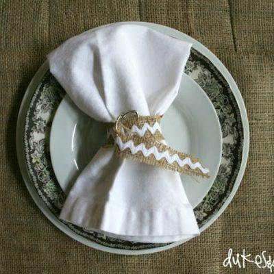 DIY Seamed Burlap Tablecloth