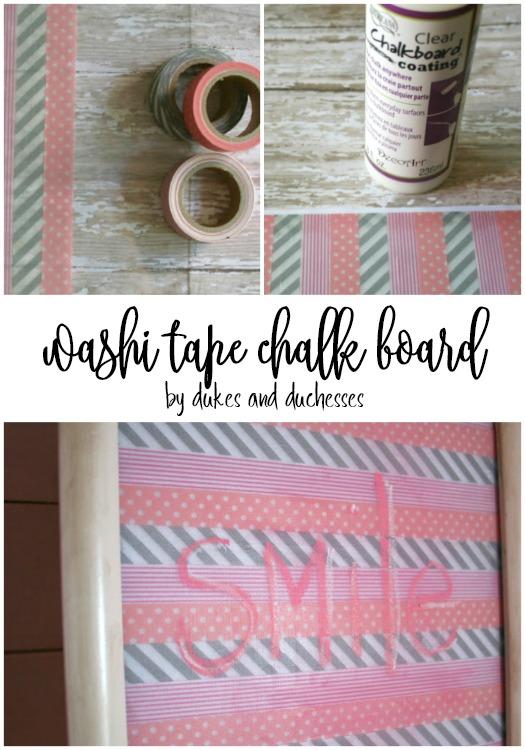 washi tape chalk board