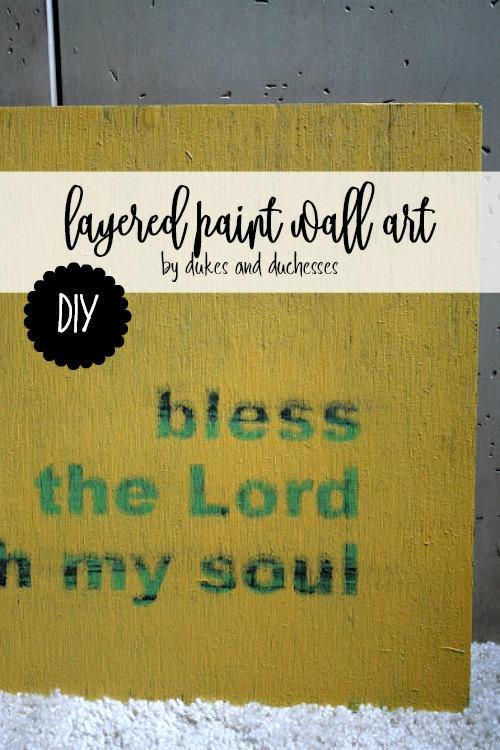 DIY layered paint wall art