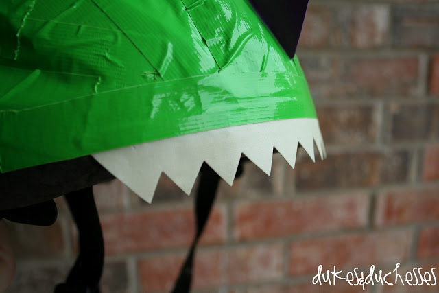 A Duct Tape Dinosaur Bike Helmet