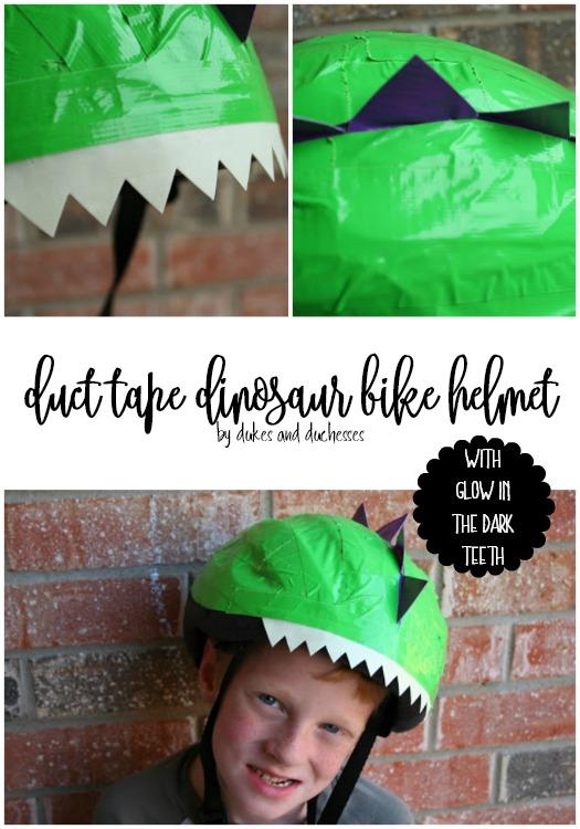 duct tape dinosaur bike helmet with glow in the dark teeth